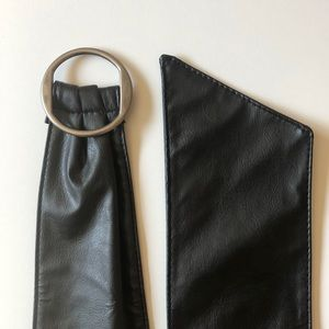 Thick Black Faux Leather High Waist Belt